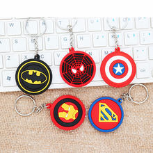 The Avengers Hero 3D Anime Keyring Double Side Silicone Keychain Spiderman Captain America Cartoon Keychain Women Child Handbag(China)