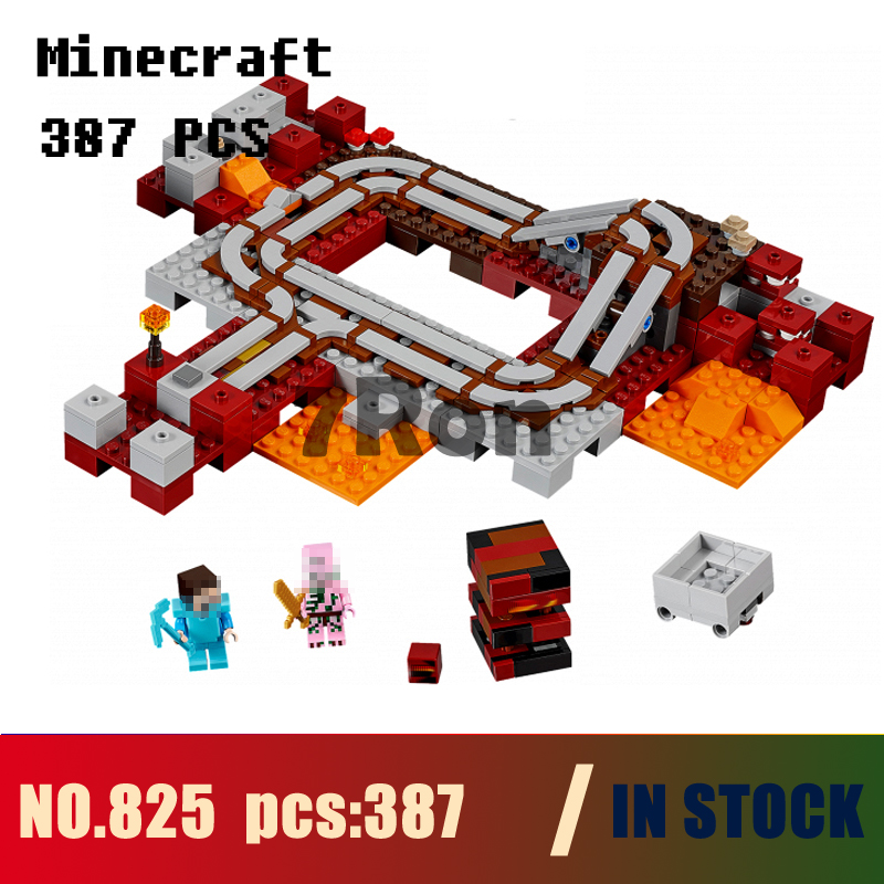 Models building toy 825 387pcs My World Nether Railway Building Blocks Compatible with lego minecraft 21130 toys & hobbies lele 2017 new technic compatible legoinglys minecrafter the nether railway building blocks my world educational toys 402 pcs