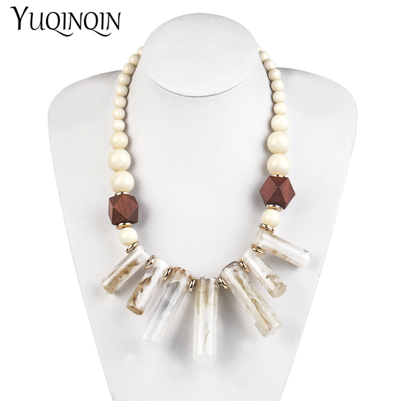 Long Geometric Acrylic Resin Pendants Fashion Wooden Beaded Chains Necklace for Women Big Vintage Designer Necklace Boho Jewelry in Pendant Necklaces from Jewelry Accessories