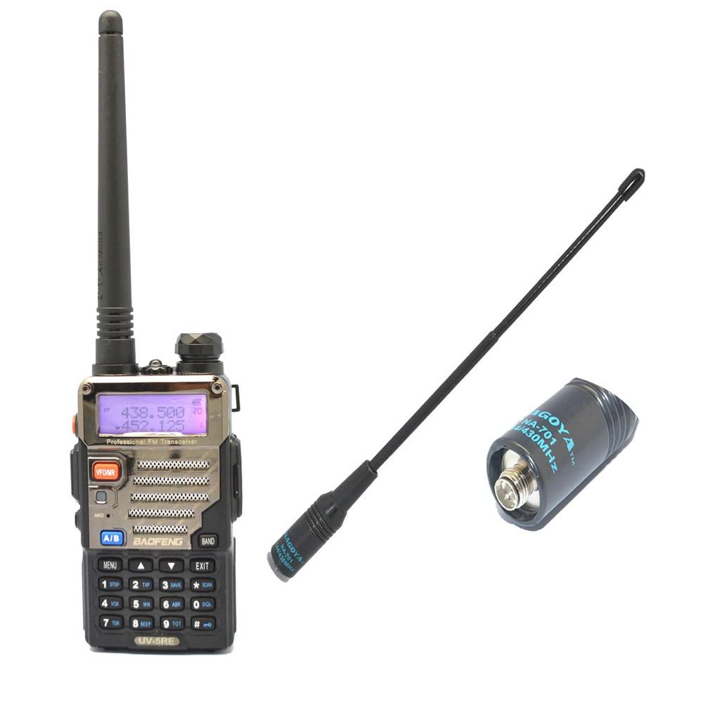 BAOFENG UV-5RE VHF/UHF double bande Walke Talkie + antenne de Na-701 SMA-F récepteur Radio de chasse pratique avec tête