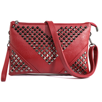 HOT red women shoulder bags Rivet crossbody bags for women purses and handbags stud women messenger bags women leather handbags