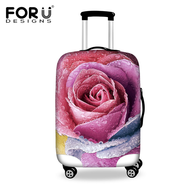 FORUDESIGNS Luggage Cover Pretty Flower Prints Travel Accessories for 18-30inch Travel Case Suitcase Protective Anti-Dust Covers