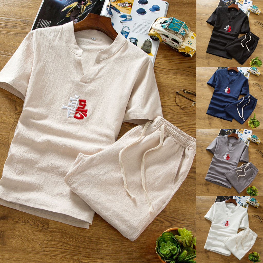 Fashion Men's Set Cotton Embroidered Short Sleeve Set Solid Color V-neck Set Summer Casual Set Y610