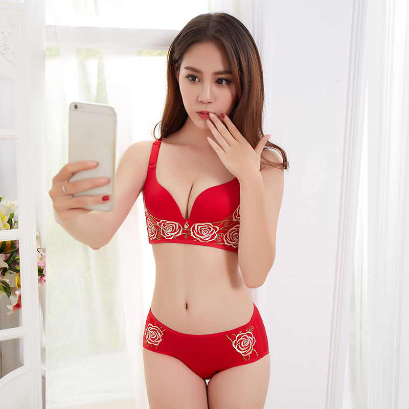 Rose Dentelle 3D massage cup Permeable sexy gathering Deep V adjustable bra suit Embroidered lace steel rimless underwear 85C90C in Bra Brief Sets from Underwear Sleepwears