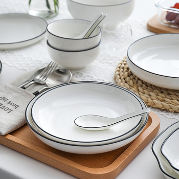 White Dinner Plate Set Ceramic Kitchen Plate Tableware Set Food Dishes Rice Salad Noodles Bowl Soup Kitchen Cook Tool 1pc blue annual ring dinner plate ceramic kitchen plate tableware set food dishes rice salad noodles bowl soup kitchen cook tool