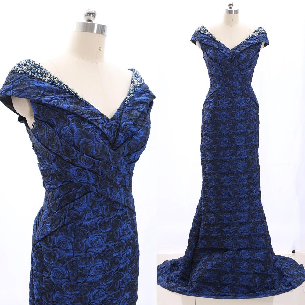 MACloth Royal Blue A-Line V Neck Floor-Length Long Crystal   Prom     Dresses     Dress   M 265176 Clearance