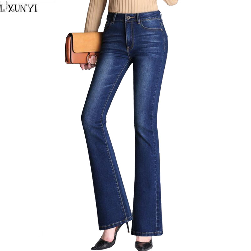 LXUNYI New Autumn Womens Flare Pants Korean Skinny jeans Woman 2017 High Waist Stretch Slim Thin Denim Trousers Casual Pants jeans woman 2017 korean fashion skinny denim pants high waist double button sexy stretch capris trousers jeans mujer