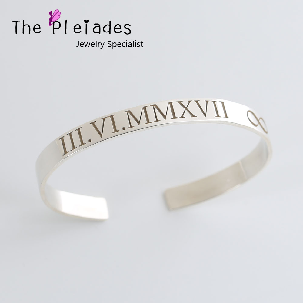 925 Sterling Silver Cuff Bangle Engrave Roman Number Personalized Date Infinity Bangle Customized Gift