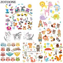 ZOTOONE Iron On Cartoon Animal Patches For Kids Clothes DIY Accessory Decoration Heat Transfer Vinyl Set Gift Body D
