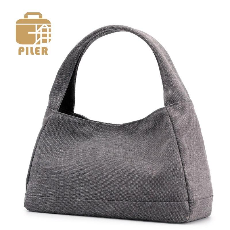 Canvas Bags Portable Shoulder Tote Shopping Bag Large Hobos Bag Zipper Tote Handbags Female