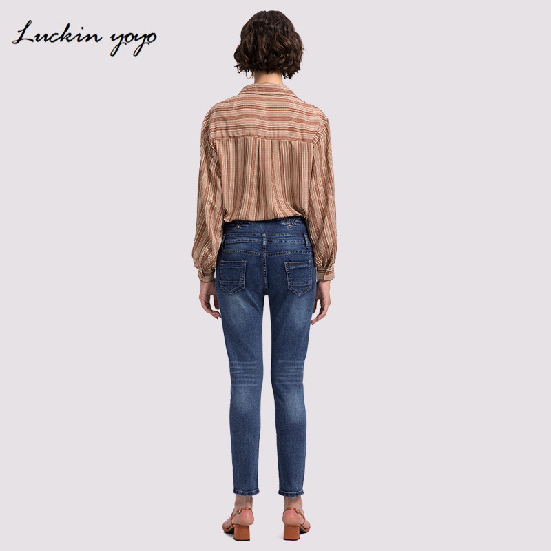 Luckin Yoyo 2018 New Slim Pencil Pants Vintage High Waist Black Jeans New Womens Pants Full Length Pants Loose Cowboy Pants Jeans