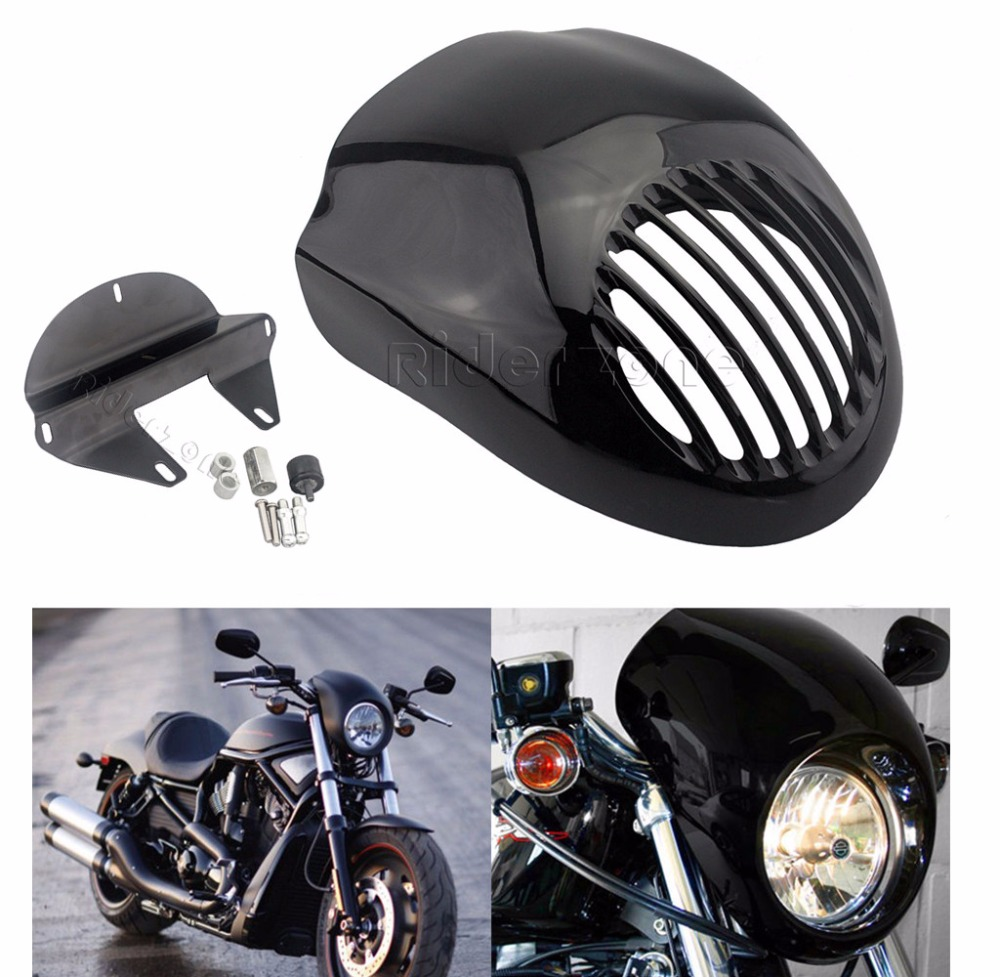 Black Grill Headlight Fairing Mask Front Mount For Harley Dyna Sportster 883 XL mtsooning timing cover and 1 derby cover for harley davidson xlh 883 sportster 1986 2004 xl 883 sportster custom 1998 2008 883l