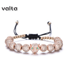 Valta Braided bracelet copper zircon Hematite bangle 316 stainless steel pulseras mujer crown pineapple leopard armband(China)