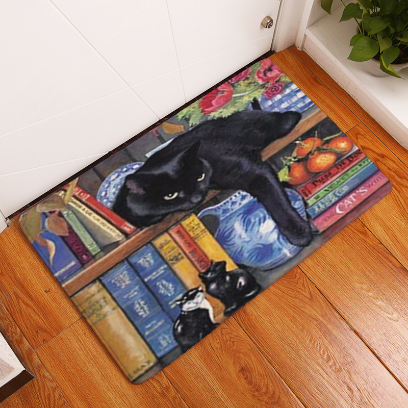 Homing Rectangle Light Welcome Home Door Mats Funny Lazy Bookshelf Sleeping Cat Pattern Carpets 40*60cm Thin Bathroom Carpets