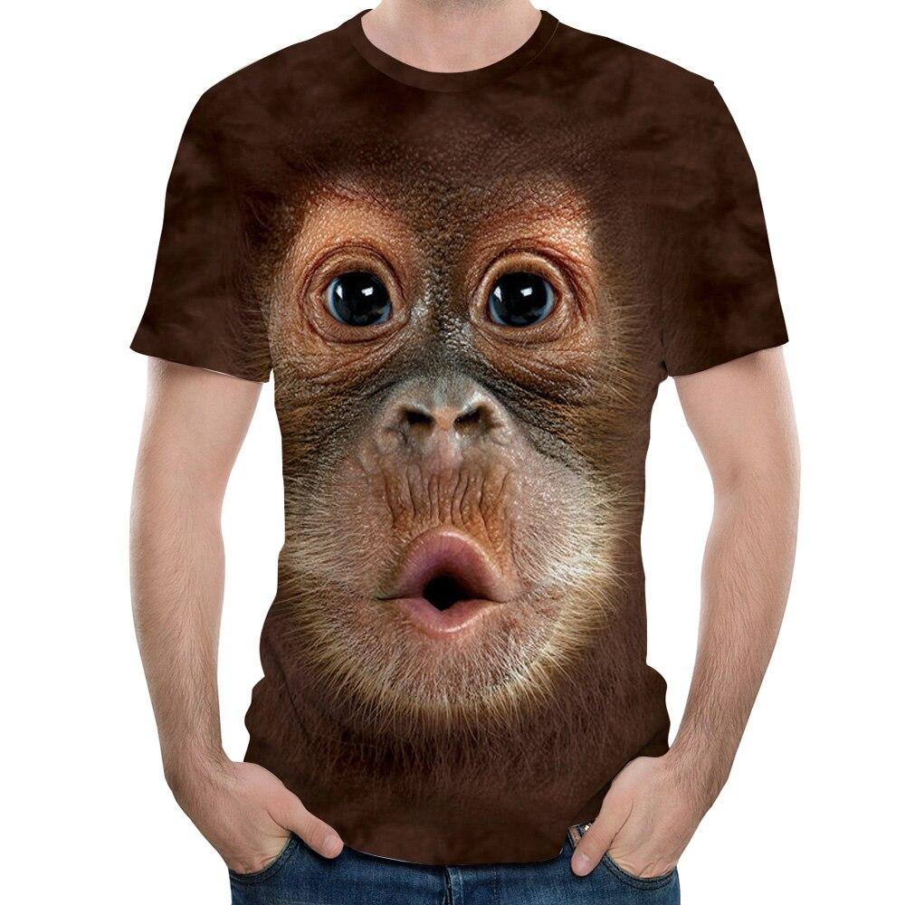 2018 camiseta de hombre 3D estampado Animal mono Camiseta de manga corta diseño divertido Casual camisetas de verano para hombre Camiseta tamaño de EE. UU. S-3XL