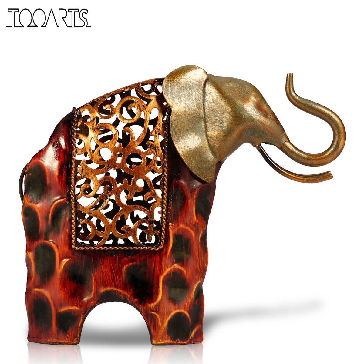 Tooarts резная железная фигурка слона металлическая фигурка животного домашний декор миниатюрный подарок ремесла для украшения дома аксессуа...