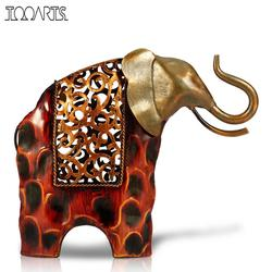 Tooarts Carved Iron Elephant Figurine Metal Animal Figurine Home Decor Miniature Craft Gift for Home Decoration Accessories