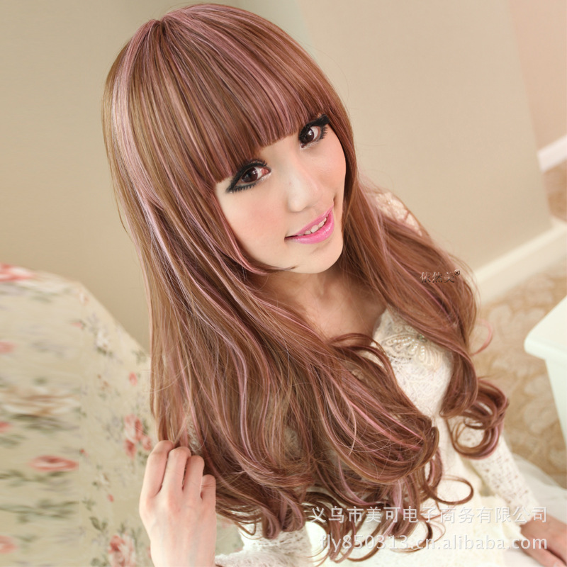 Japanese Anime Original Color Streaked Long Hair Wig Nature Long