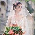 1.5 * 3 M Simple Vintage Long Wedding Veil Romantic Bridal Veils Wedding Accessories Veu De Noiva Longo Cut Edge Vasamento