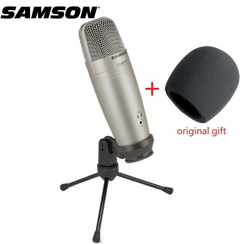 Original SAMSON C01U Pro (+ Samson Wind sponge) USB Condenser microphone for studio recording music ,YouTube videos-in Microphones from Consumer Electronics    1