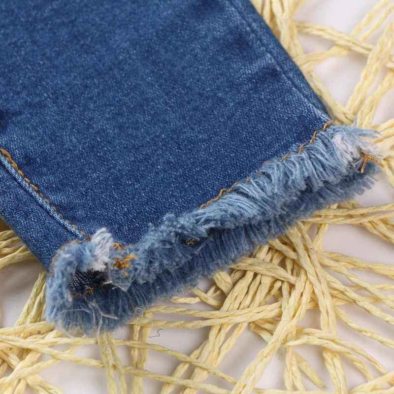 Çocuklar mavi kot 2019 Sonbahar Elastik Bel Çocuk Pantolon Kız Delik Pantolon Bahar Nedensel Kalem Tayt kadın çocuk giysileri