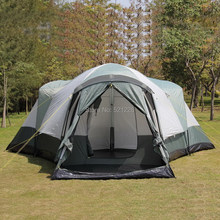 6-12 persons super huge double layer outdoor carpas camping tent,beach fishing hiking family tent in 3 bedrooms 1 living room