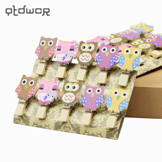 10PCS/Bag Kawaii Owl Wooden Mini Clip With Hemp Rope for Photo Cartoon Paper DIY School Office Binding Supplies