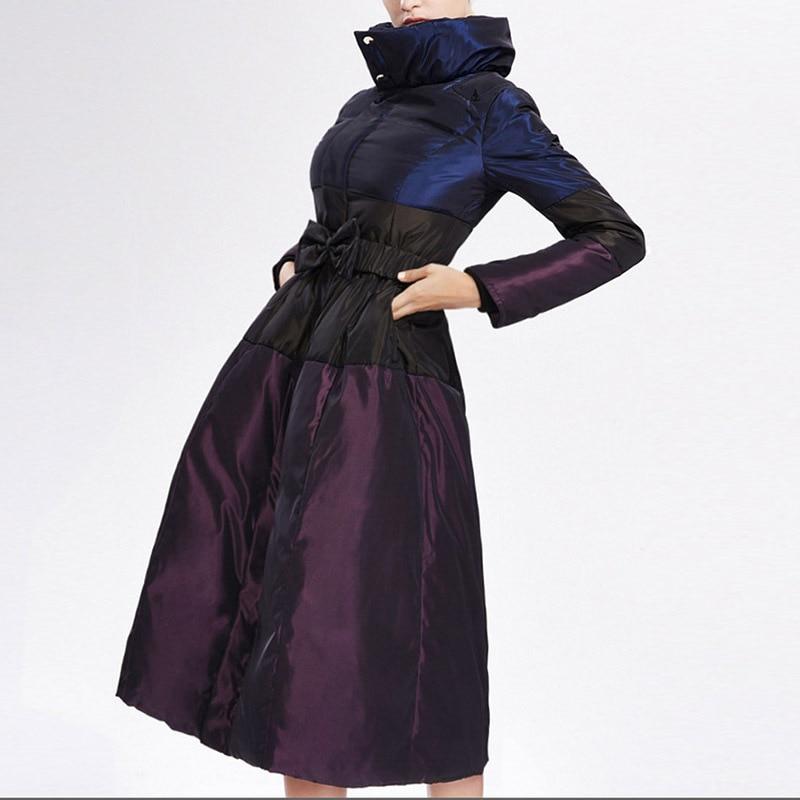 2018 Taille violet Livraison purple Noir Longue Doudoune Doudounes Mince Nouveau Black Femmes Hiver Gratuite Grande 5BqTxX
