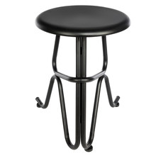 Creative Human Shaped Round Iron Stool Bar Stool Pub Height Stool Tall Non-Foldable Bar Seat Counter Chair Black - US Stock(China)