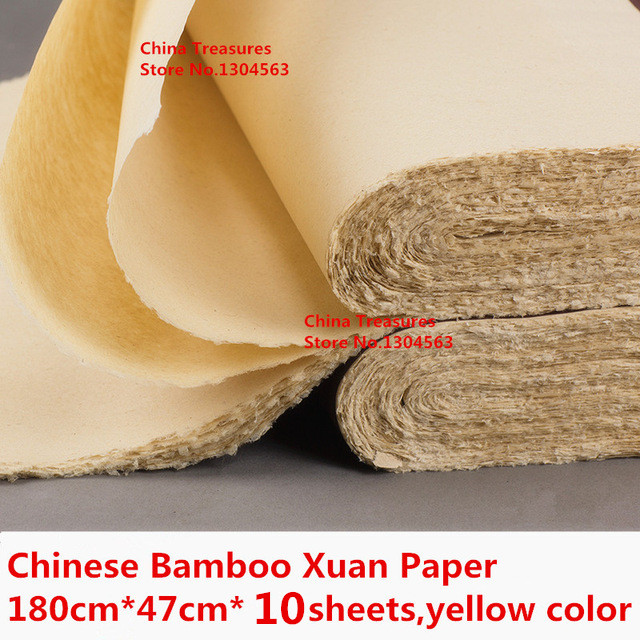 180cm*47cm*10sheets/lot Chinese Bamboo Xuan Paper Calligraph Paper Xuan Zhi Rice Paper Mao Bian Zhi Yellow Color/antique Color