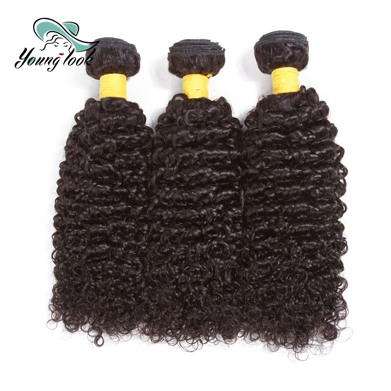 Young Look Hair Kinky Curly Human Hair 3 Bundles Weave Bundles Natural Color Brazilian Remy Hair Extensions Free Shipping