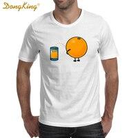 קריקטורה אופנה DongKing הומור מצחיק של מיץ תפוזים מודפסות גברים חולצה מזדמנים קיץ חולצת טי צמרות בגדי כושר