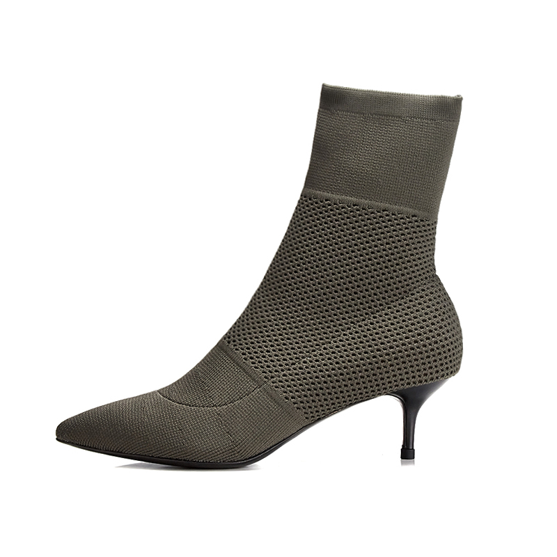 2018 Autumn New Fashion Ankle Elastic Sock Boots Chunky High Heels Stretch Women Autumn Sexy Booties Pointed Toe Women shoes in Ankle Boots from Shoes