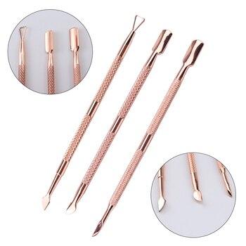 1/3 uds, empujador de cutículas dorado de acero inoxidable, herramientas para manicura, pedicura, lima de uñas, removedor de cutículas de piel muerta, empujador de uñas