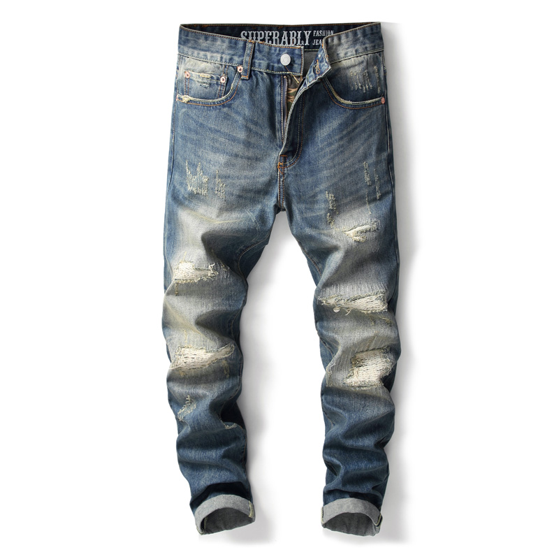 Fashion Streetwear Men Jeans Japanese Style Vintage Ripped Jeans For Men Classical Cotton Denim Pants Hombre Hip Hop Jeans Homme