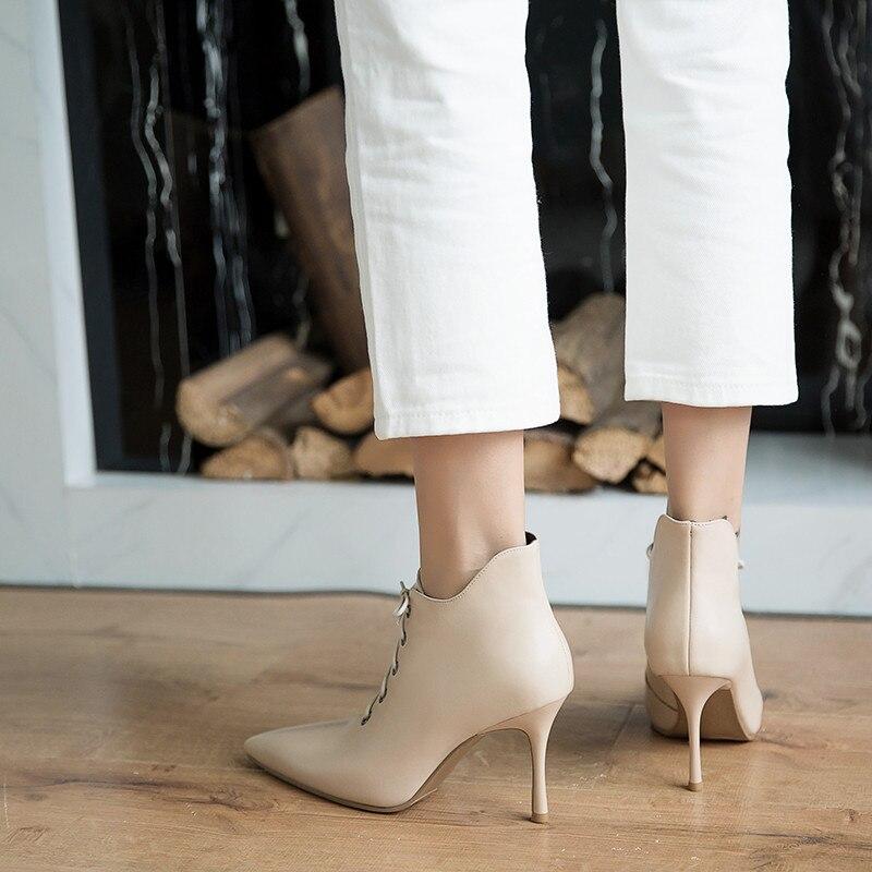 bc49a73c6 Xinbest Tobillo Alto Punta De Genuino Botas Mujer Cordones Tacón Zapatos Bota  Para Tacones Con Cuero ...