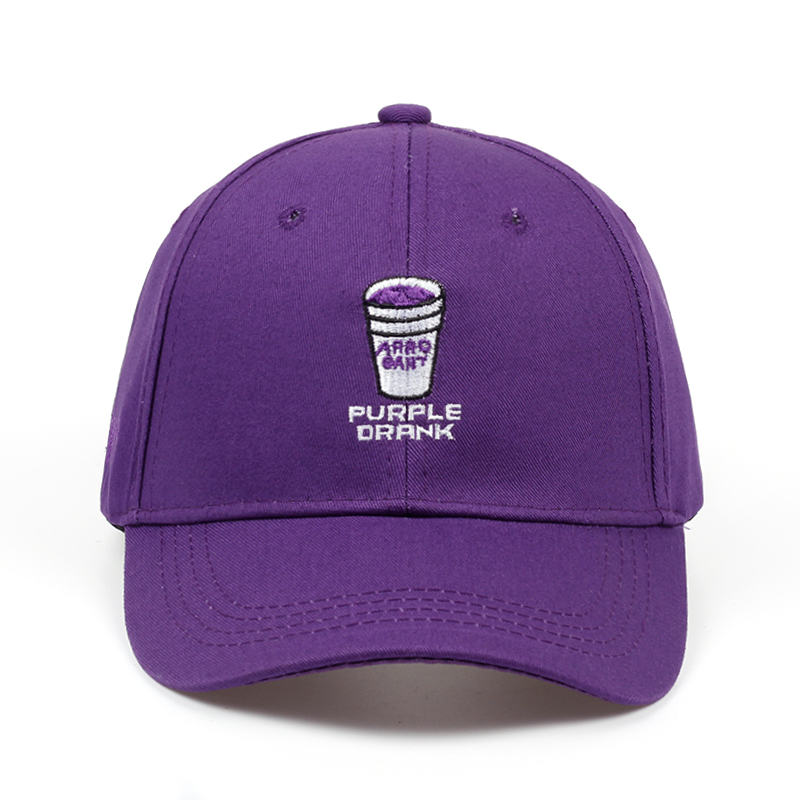 2018 brand new adult adjustable   baseball     cap   men and women fashion hip-hop   cap   letter PURPLE DRANK embroidery black hat