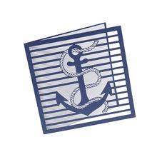 Corte a laser convites de casamento cartão de âncora azul marinho