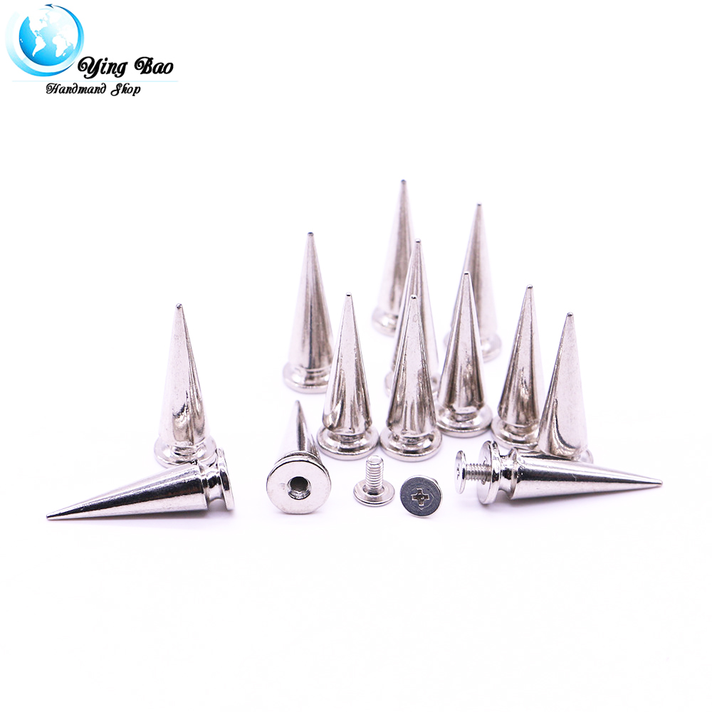20sets/pack 10mm (Diameter), 29mm (Height)  pince rivet  Silver and gold Colors  tall cone studs B-06