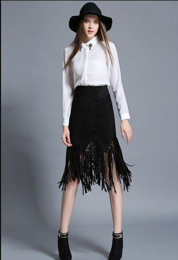 2017 New Spring Women's Party Slim Skirt Vintage Style Tassel Skirt Suede A Word Skirt