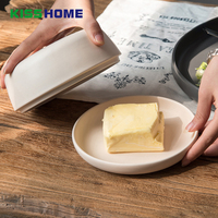 15.6x15.6cm Nordic Minimalism Ceramics Cover Butter Box Porcelain Matte Glazed Surface Cheese Boxes Insulation Tray Container