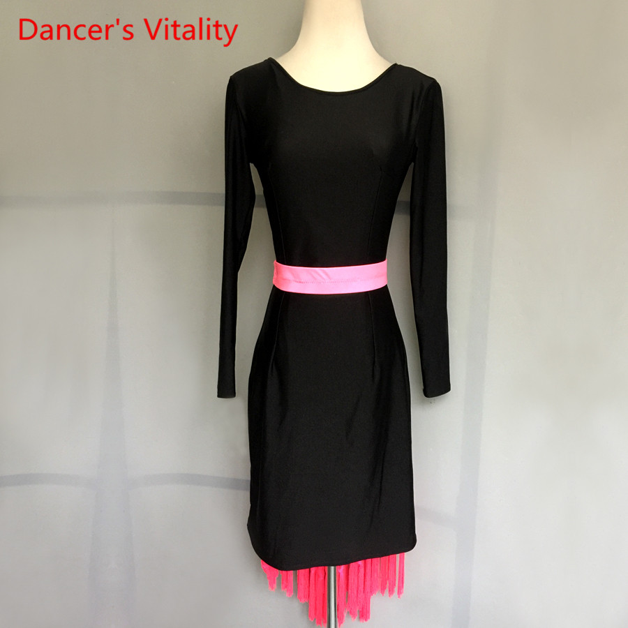 Women Girls Latin Dance Dress Sexy V-back Long Sleeves Latin Dance Costumes For Lady/Child Latin Dance Competition Dresses