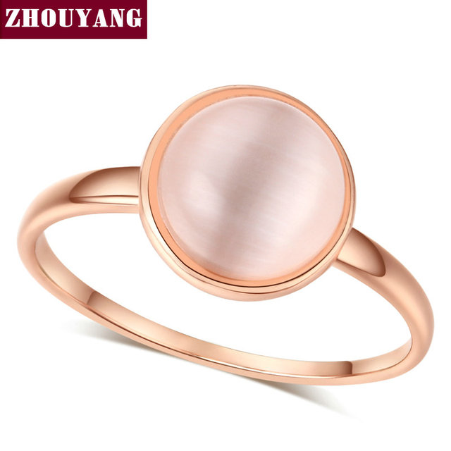 ZHOUYANG Ring For Women Lady Style Concise Semi precious Stone Cat's Eye Stone R