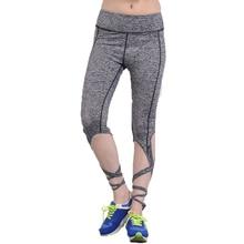 2018 Summer Black Gray Bandage Cross Leggings Women High Waist Sporting Pants Fitness Gymming Lady Capris