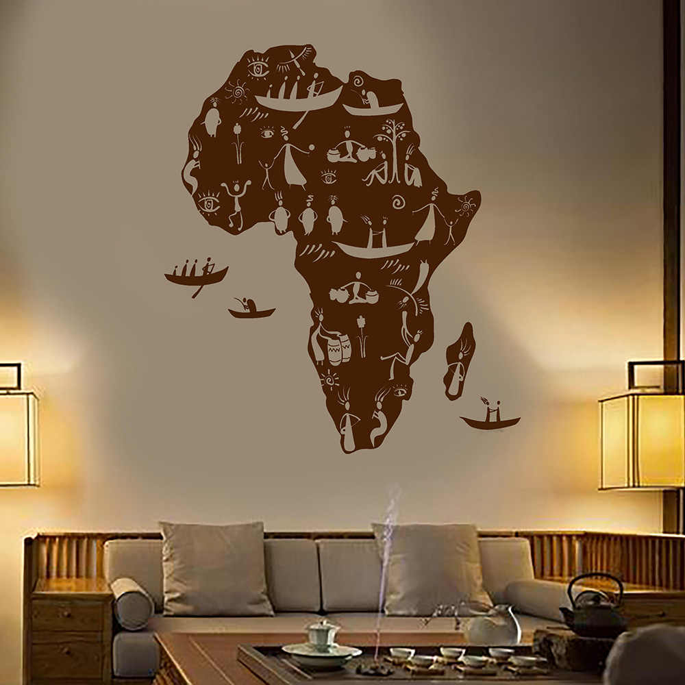 Africa Continent African Natives People Map Vinyl Wall Decal Home Decor Art Mural Removable Wall Stickers