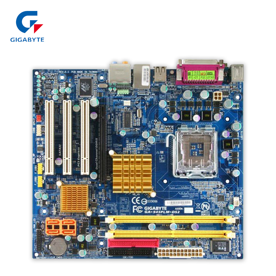Gigabyte GA-945PLM-DS2 Desktop Motherboard 945PLM-DS2 945PL LGA 775 DDR2 Micro-ATX college girl canvas 3pcs backpack letters printing women usb school backpacks schoolbag for teenagers student book shoulder bags
