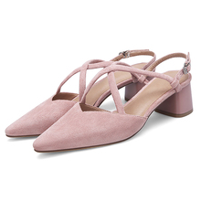 AME Pumps Women Shoes Sandal High Quality Flock Party Fashion Pointed Toe Lady Girl Heels Woman 11811AJS2008