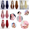 13 Colors 80cm Women's Halloween Cosplay Wigs Heat Resistant Pink Yellow White Blonde Purple Black Red Straight Wig Party Dress