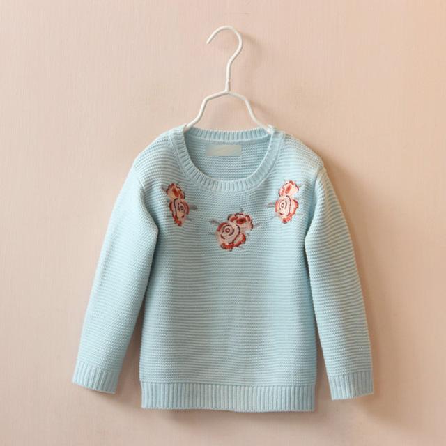2017 Primavera Outono Novo Estilo Do Bebê Meninas De Algodão Bordado Camisola Crianças Camisola Crianças Cardigan Camisola de Malha