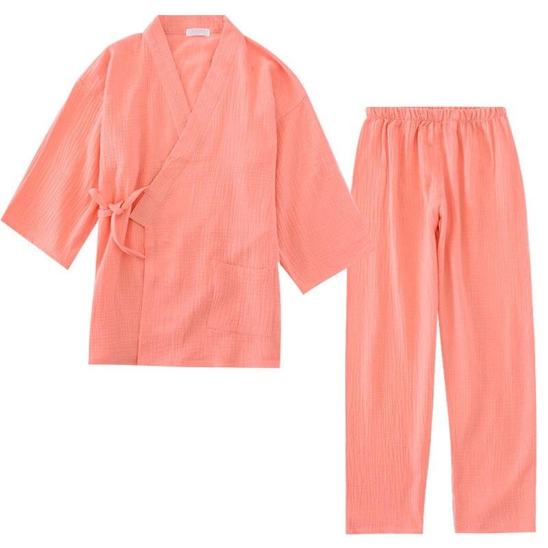 100% Cotton Crepe Men's And Women's Kimono Pajamas Long-sleeved V-Neck Pyjamas Women Kimono Suit Solid Plus Size Pijama Mujer